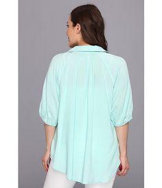 Karen Kane Plus Size Fashion Aqua Plus Size Split Neck Top available from 6PM #Karen_Kane #6PM #Designer #Plus #Size #Clothing #Plus_Size_Fashion #ScoreScore