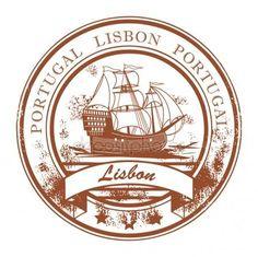 2 x Lisbon Portugal Sticker Car Bike Laptop Map Flag Travel Luggage Grunge, Travel Symbols, Travel Stamp, Seal Design, Diy Design, Car Bumper Stickers, Portugal Travel, Custom Stamps, Grafik Design