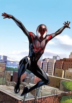 Miles Morales as Spiderman. I'm glad Marvel is diversifying heroes...I love Peter Parker, but I am excited to see this new direction and see how Miles evovles int his own brand of hero!