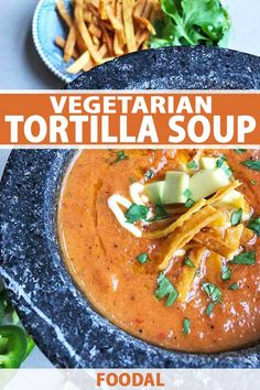 If smoky, aromatic Mexican flavors fire you up, this creamy, vegetarian-friendly tortilla soup will satisfy all your spicy wishes. Get the recipe on Foodal. Healthy Soup Recipes, Chili Recipes, Mexican Food Recipes, Vegetarian Recipes, Cooking Recipes, Ethnic Recipes, Vegetable Recipes, Vegetarian Tortilla Soup, Vegetarian Appetizers