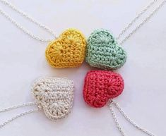 crocheted pendant heart necklace plush pastel by Giftsandbobs, Wire Crochet, Crochet Doilies, Crochet Toys, Crochet Stitches, Knit Crochet, Crochet Jewelry Patterns, Crochet Accessories, Lace Heart, Jewelry Crafts