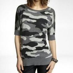 Express Camo Jacquard Tunic Sweater Grey and black short sleeve sweater with cutout back. Lightweight and beautiful! The back is absolutely flattering! Made of 100% cotton. Tagged as XS but could also fit a small. A little piling under the arms. Express Tops Tunics