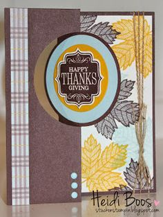 handmade thanksgiving card from Stuck on Stampin' ...  flip card ... brown and gold with pale blue/gray ... greeting on punched label on one side of the circle with stamped leaves on the other ... lovely ... Stampin' Up!