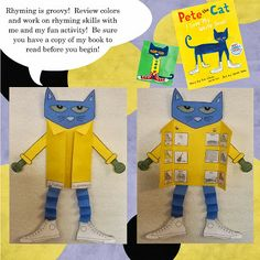 Pete the Cat Template for Rhyming Craftivity (from Christina's Kinder Blossoms)