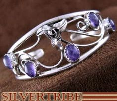 American Indian Navajo Jewelry Amethyst And Sterling Silver Cuff Bracelet HS53339