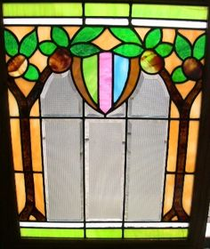 """Antique 1920s Chicago Stained Beveled Glass Window Nice Colorful Tree.   This window measures 22 1/2"""" tall by 17 1/2"""" wide and the glass only is 20"""" by 15""""."""