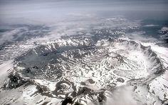 Aerial view of Aniakchak Caldera, Alaska; view toward east