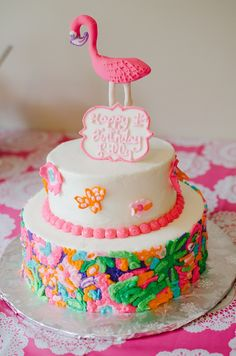 A Lilly Pulitzer Themed First Birthday Party - Lilly Pulitzer cake! @lillypulitzer