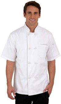 Style # 64512: WHITE: Basic Fit Short Sleeve Chef Coat - Knotted Cloth Buttons - 65/35 Poly/Cotton $18.99
