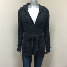 Old Navy Cardigan Old Navy Charcoal Grey Cardigan with 2-Front Pockets, 5-Buttons & Tie Waist! Excellent Condition!! 60% Cotton 20% Lambs Wool 20% Acrylic Old Navy Sweaters Cardigans