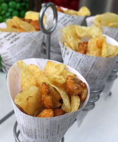 Fish & chips served in newspaper cones. Fish Fry Party, Pie And Chips, Rainbow Desserts, Birthday Dinners, Eat Dessert First, Fried Fish, Food Presentation, Dessert Table, Olympics
