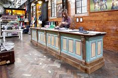 Cool reclaimed wood cash wrap and flooring at British clothier Jack Wills...
