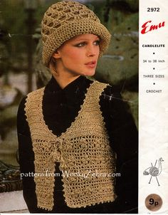 WZ828 PDF for a cute bolero and matching hat to crochet from vintage pattern emu2972. Flowers formed in the lace rows, tassel ties, picot edging!