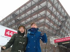 Let it snow, let it snow! Anca and Zuzana pose for a photo under the Slovak Radio pyramid just a moment ago.