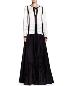 Long Tiered A-Line Skirt with Rosettes, Black