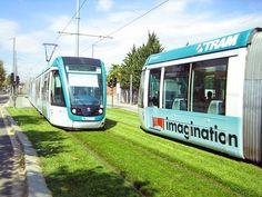 trams on grass, sustainable transportation, european public transportation, green transportation, urban design, urban heat island effect, green design, grass lined public transportation tracks