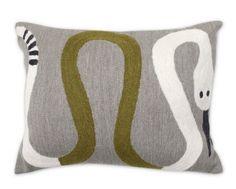 Jonathan Adler needlepoint snake pillow.