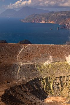 Vew of the Aeolian Islands from the crater of Etna Vulcano, Sicily, Italy