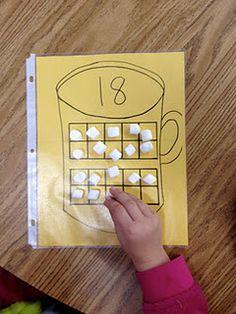 10 frames - marshmallows in hot chocolate. Fun winter math work stations for kindergarten! Kindergarten Fun, Preschool Math, Math Classroom, Teaching Math, Classroom Ideas, Maths, Teaching Ideas, Math Resources, Math Activities