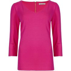M&S Collection 3/4 Sleeve V-Neck Top (315 ARS) ❤ liked on Polyvore featuring tops, red, holiday tops, 3/4 length sleeve tops, rayon tops, special occasion tops and pink top