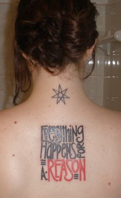 """""""Everything happens for a reason""""#tattoo #LetteringTattoo #back"""