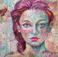 Announcing the Mixed-Media Portrait Reader Challenge Finalists – Cloth Paper Scissors – anemone – Art Mixed Media Faces, Collage Art Mixed Media, Mixed Media Painting, Mixed Media Canvas, Mixed Media Journal, Mixed Media Artists, Abstract Portrait, Portrait Art, Girl Portraits