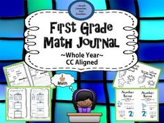 """First Grade Math Journal *65 TOTAL pages for WHOLE YEAR use*aligned to common core standards*includes vocabulary pages at the beginning of each of the 4 mathematical strands for students to refer to *includes a kid-friendly """"I Can"""" statement at the bottom of each page for student's to check off as they complete*designed for high engagement with interactive hands on activities for more concrete mathematical practiceA math journal enhances mathematical ..."""
