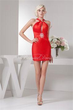 free shipping Satin Silk-like Satin Sleeveless Halter Wedding Guest