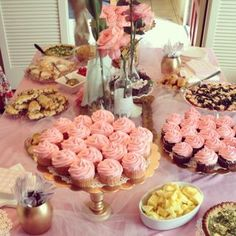 Pink and gold baby shower  Great tip for cheap tablecloth