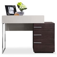 Modrest Daytona Modern Brown Oak Vanity Dresser ($288) ❤ liked on Polyvore featuring home, furniture, tables, brown table, oak wood furniture, oak furniture, modern oak table and top table