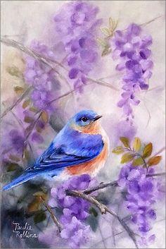 "Daily Paintworks - ""Morning Mist - Original Fine Art for Sale - © Paulie Rollins Pretty Birds, Beautiful Birds, Beautiful Places, Watercolor Bird, Watercolor Paintings, Bird Illustration, Illustrations, Bird Pictures, Vintage Birds"