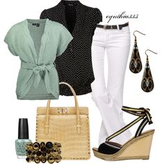 """""""Sea Foam Accents"""" by cynthia335 on Polyvore  Maybe not white pants but it would be cute with jeans"""