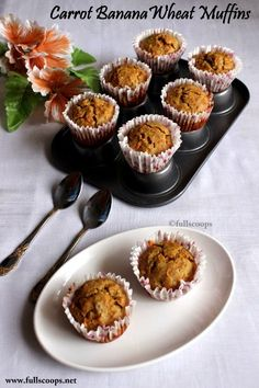 Eggless wheat, carrot n banana muffin
