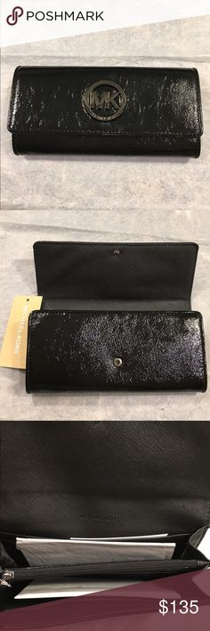 """Michael Kors Leather Continental Wallet (NWT) NWT-Authentic Michael Kors Fulton Continental Wallet--Price is Firm!! Color: Shiny/Textured Black Dark Silver Michael Kors Medallion Style Logo on front Snap Closure Made of Leather  Exterior A fold-over flap with snap closure and polished logo plaque at front. One open pocket on back  Interior 10 card slots, two bill compartments and one zip divider compartment at interior  Retails for $158  7 1/2""""L x 3 3/4H x 1 1/2""""D  Smoke Free/Pet Free Home…"""