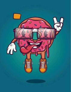 Donut - Food Series Guys Art Print by strauss Art And Illustration, Character Illustration, Illustrations, Graffiti Art, Graffiti Doodles, Cartoon Kunst, Cartoon Art, Cartoon Graffiti, Cartoon Monsters