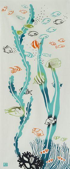 Japanese Tenugui Towel Cotton Fabric Sea by JapanLovelyCrafts