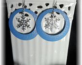 Holiday Snowflakes Earrings in glittery light blue hoops