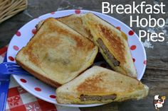Breakfast Hobo Pies: Camping Food  you could grill these and add all kinds of breakfast ingred.