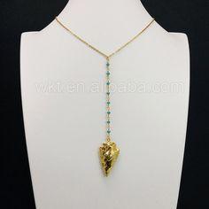 WT-N677 Gorgeous full gold plated arrowhead agate