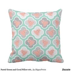 Shop Pastel Green and Coral Pillow with Hippos created by HippoPrints. Coral Throw Pillows, Custom Pillows, Pastel, Green, Fabric, Color, Design, Tejido, Cake