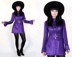 Vtg 60s 70s Purple Velvet Stars Bell Sleeve Mod by velvetcave