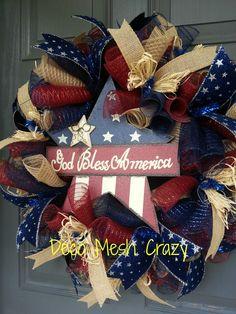 4th of July Deco Mesh Wreath- www.facebook.com/decomeshcrazy http://www.decomeshcrazy.com