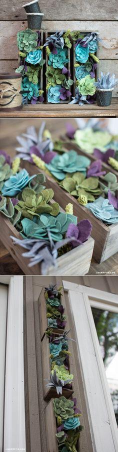 #feltflower #verticalgarden #succulent #DIYflowers #MakeItFun www.LiaGriffith.com