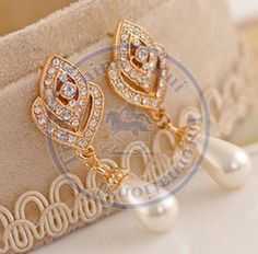 Stud Earrings ear rings Fashion for women Girl's lady rose pearl rhinestone drop desgin CN post $1.68