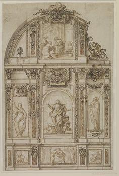 Sebastián de Herrera-Barnuevo (1619-71), Design for a chapel altar wall. Drawing, 517 x 345 mm.