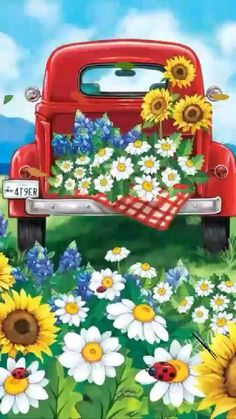 Vintage Clipart, Vintage Red Truck, Farm Paintings, Truck Paint, Summer Painting, Summer Flowers, Bright Flowers, Fresh Flowers, Vintage Flowers
