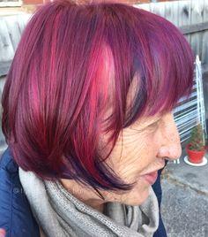 Bright vivid purple red blue hair bob