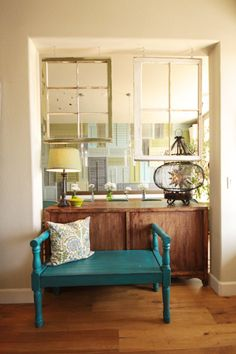 Kitchen Possibilities - Between kitchen and dining room. From: http://www.younghouselove.com/2013/07/house-crashing-calming-clever/. Originally from: http://www.oliveandlove.com/