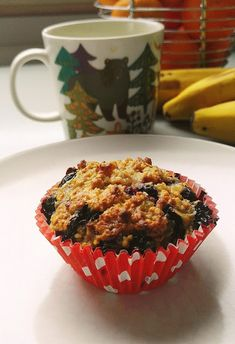 Breakfast cups with blueberries, bananas and oats. Nutrition calculations per serving included! Breakfast Cups, I Have Done, Blueberries, Bananas, Muffin, Nutrition, Cooking, Crafts, Food