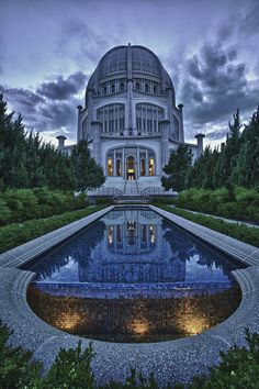 Baha'i Temple Reflection, Wilmette, Illinois - Spectacular design with an equally beautiful landscape!!/NZI
